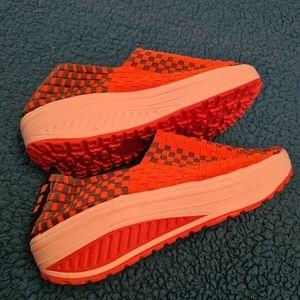 Women Shoes Size 38 EU Orange Woven Wedges Shoes